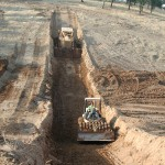 Building key way for earthen dam